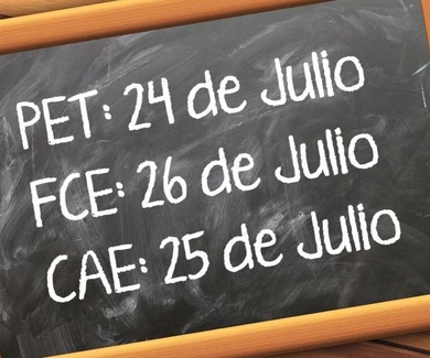 Exámenes PET, FCE y CAE Julio