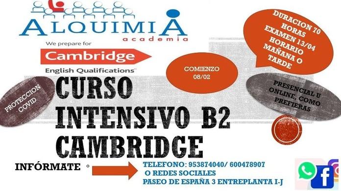 B2 INGLÉS. CAMBRIDGE (EXAMEN13/04/2021), PRESENCIAL U ONLINE: NUESTRA OFERTA FORMATIVA de Alquimia