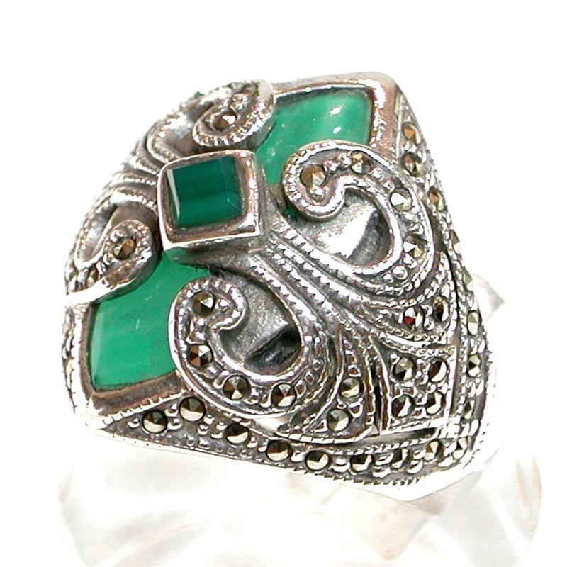 Sortija de Plata de 1º Ley y cabujones de Aventurina Verde. Ref. GS-533/04: Catálogo de Antigua Joyeros