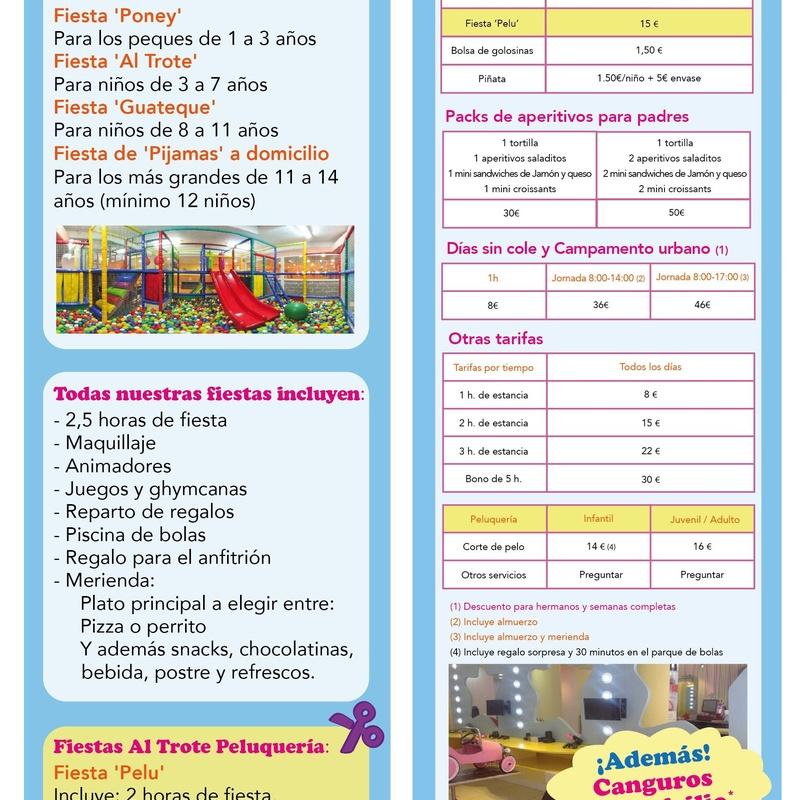 PRECIOS DE FIESTAS INFANTILES: NUESTROS SERVICIOS de AL TROTE ZONA INFANTIL