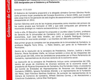 El Gobierno cántabro propondrá a Carmen Sánchez Morán como presidenta del Consejo Económico y Social