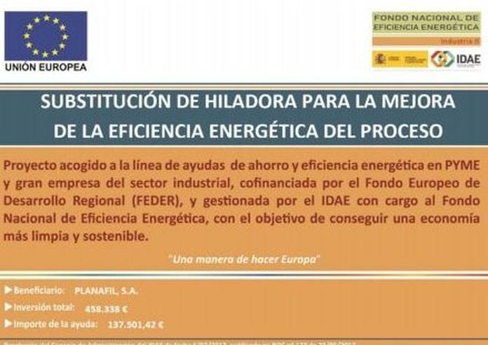 Sustitución de hiladora para la mejora de la eficiencia energética del proceso