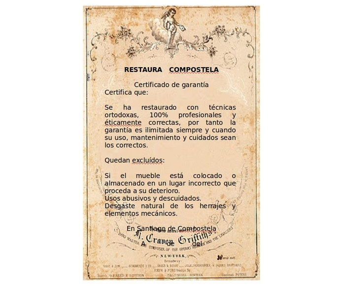 Certificado de garantía: Servicios de Restaura Compostela