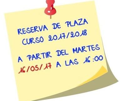 Reserva de Plaza Curso 2017/18