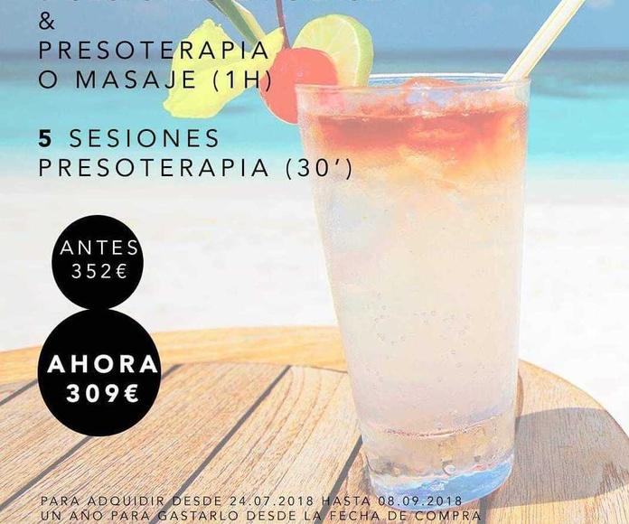 6 sesiones lipoláser, presoterapia o masaje y 5 sesiones presoterapia....309 €