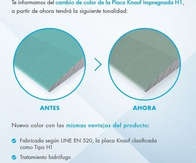 LA PLACA H1 DE KNAUF CAMBIA DE COLOR