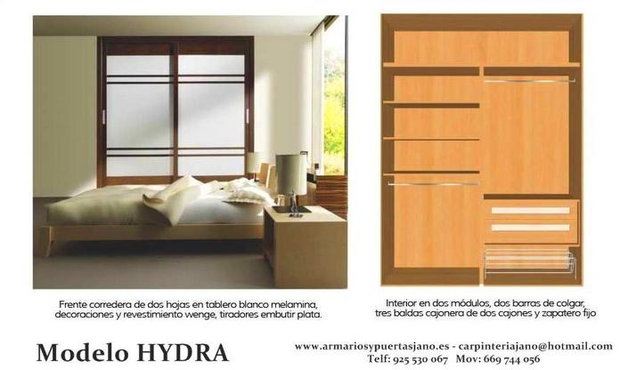 Frente e interior de armario modelo hydra