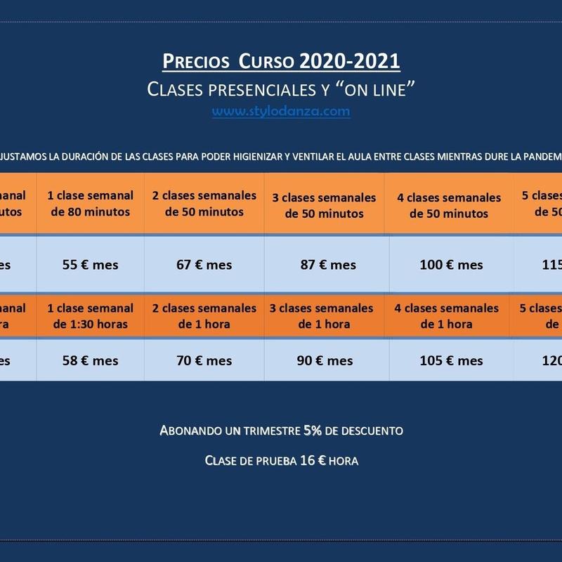 Precios Curso 2020-2021