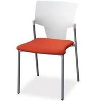 Evelyn en color blanco con asiento tapizado en naranja
