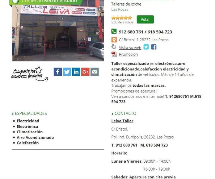 Taller de coches LEIVA en Lo Mejor del Barrio.com