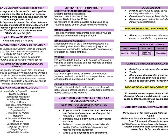 LUDOTECA - CAMPAMENTO DE VERANO 2019: Actividades y horarios   de Taller de Danza de Alcalá