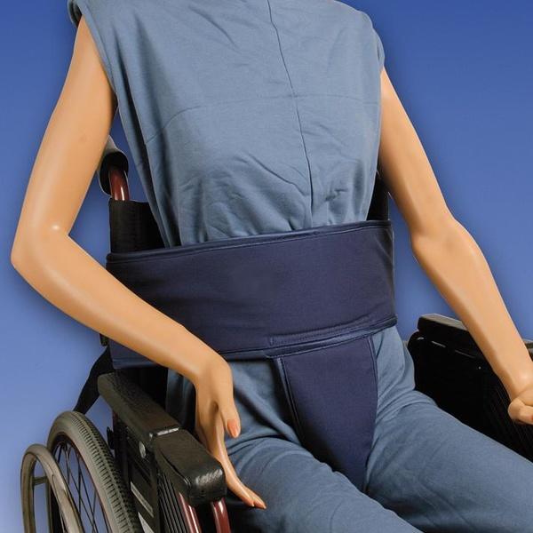 Cinturón abdominal con soporte perineal para silla de ruedas