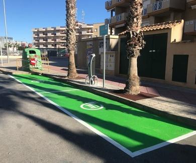 Señalización de suelo para estacionar un coche eléctrico