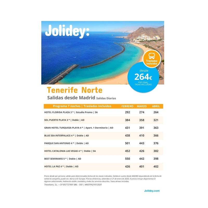 Jolidey: Tenerife Norte: Contrata tu viaje de Viajes Iberplaya