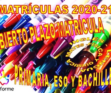ABIERTO EL PLAZO DE MATRÍCULAS 2020-21