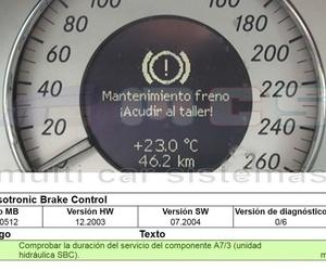 Fallo error Freno Mercedes SBC código C249F