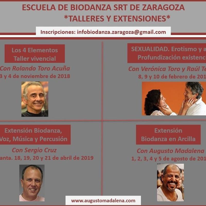 Próximos Talleres y Extensiones 2018-2019 organizados por la Escuela de Biodanza SRT de Zaragoza