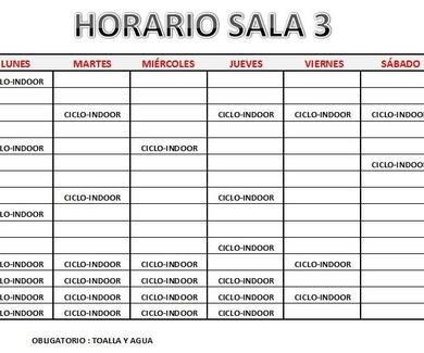 HORARIO SALA 3