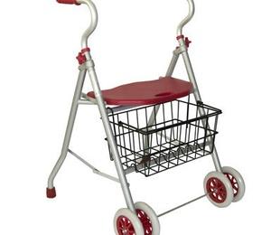 Caminador de aluminio con asiento y cesta