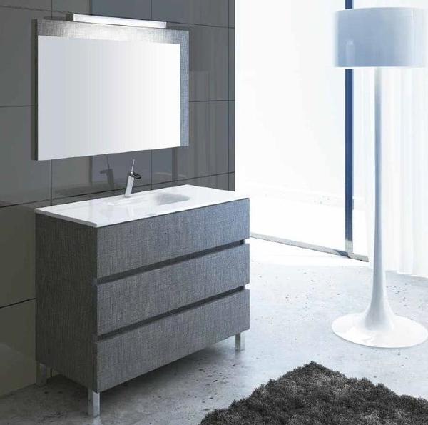 Mueble Complet C17 de 3 cajones, fantasía lino gris y uñero recto