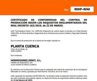 Venta de áridos certificados: Catálogo de HORMIGONES ZENIT, S.L.