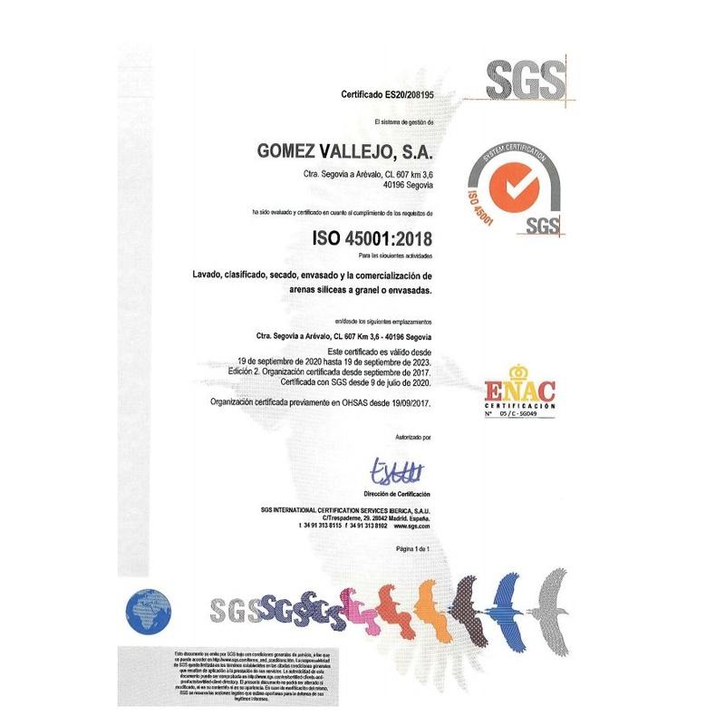 Certificado ISO 45001: Productos y Servicios de Gómez Vallejo, S.A. Arenas Silíceas Especiales