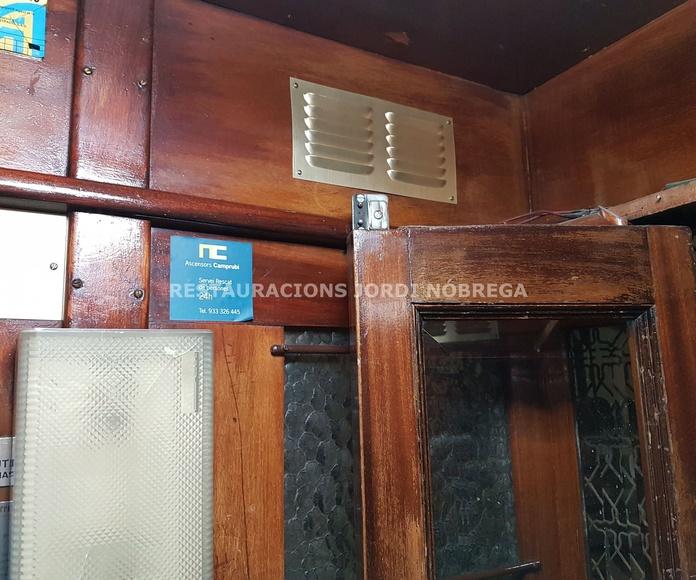 Restauración cabina de ascensor en Calle Paris, Eixample de Barcelona
