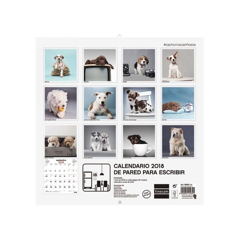 Calendario de pared de imágenes 30x30 2018. Finocam Cachorros