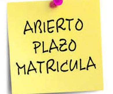 ABIERTO PLAZO MATRICULACIÓN CURSO 2019/2020