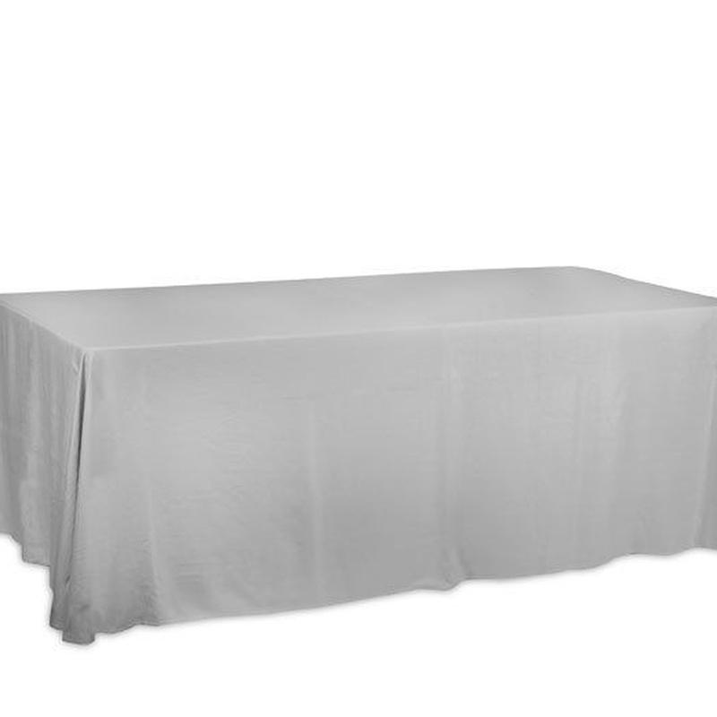 Mantel rectangular plata: Alquiler of Mantelería & Menaje