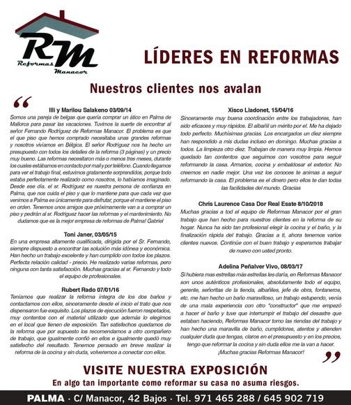 Más opiniones de nuestros clientes en Ultima Hora - Reformas Manacor