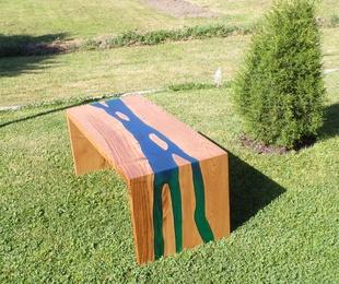 Mesa de centro combinación madera - resina epoxi