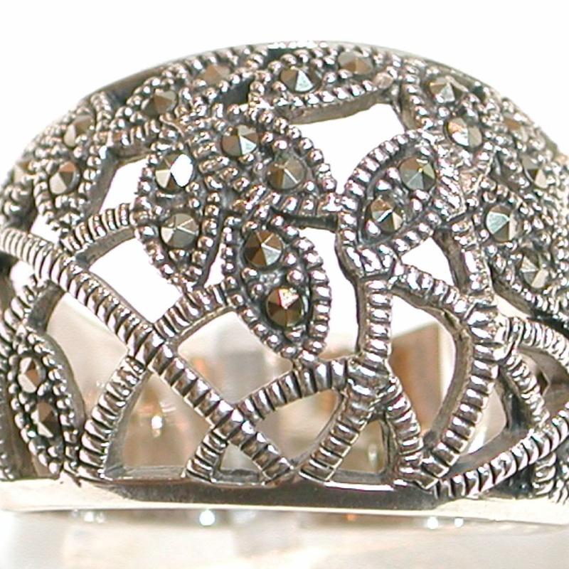 Sortija calada con motivos florales Plata 1º Ley y Marcasitas Ref.MMS009/00: Catálogo de Antigua Joyeros