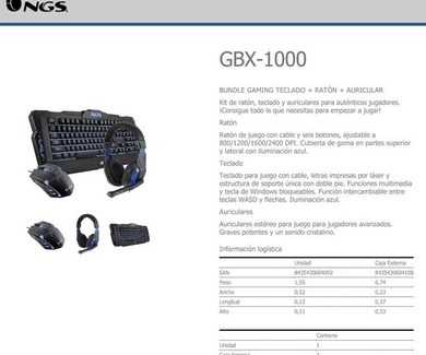 Super oferta GAMING KIT: NGS GBX-1000 (NGS GBX 1000) 39,95 €