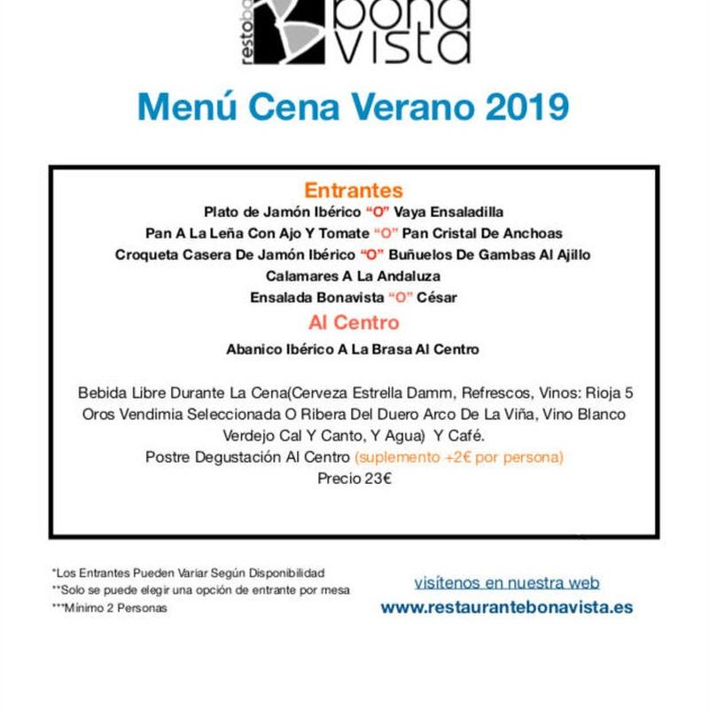 Menú cena : Carta y Menús de Restaurante Bonavista