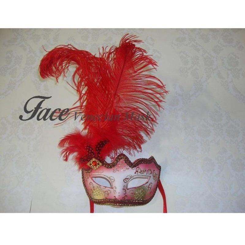 Antifaz con brillantina y pluma lateral: Máscaras y antifaces de Face Venecian Mask