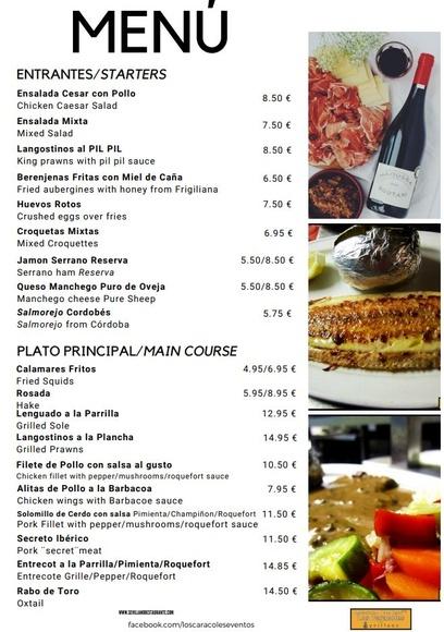 Carta Los Caracoles. Carretera Frigiliana Torrox, km 4,5, Torrox (Málaga)  : CARTA EL SEVILLANO de Restaurante Sevillano
