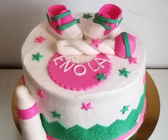babyshower verde y rosa