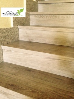 Forrado de escaleras con suelo vinilico en Boadilla del Monte