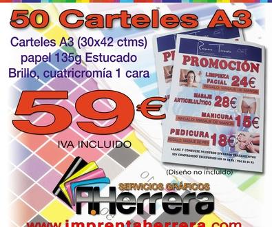 50 Carteles A3 (30x42 ctms) papel 135g EB, cuatricromía 1 cara59€
