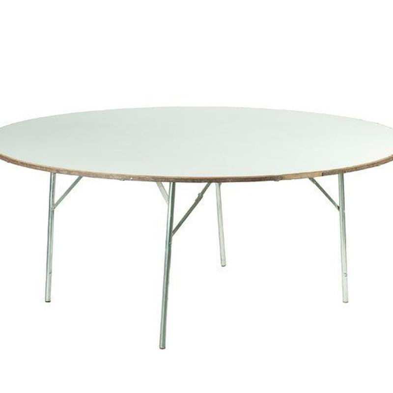 Mesa redonda de madera: Alquiler de Mantelería & Menaje
