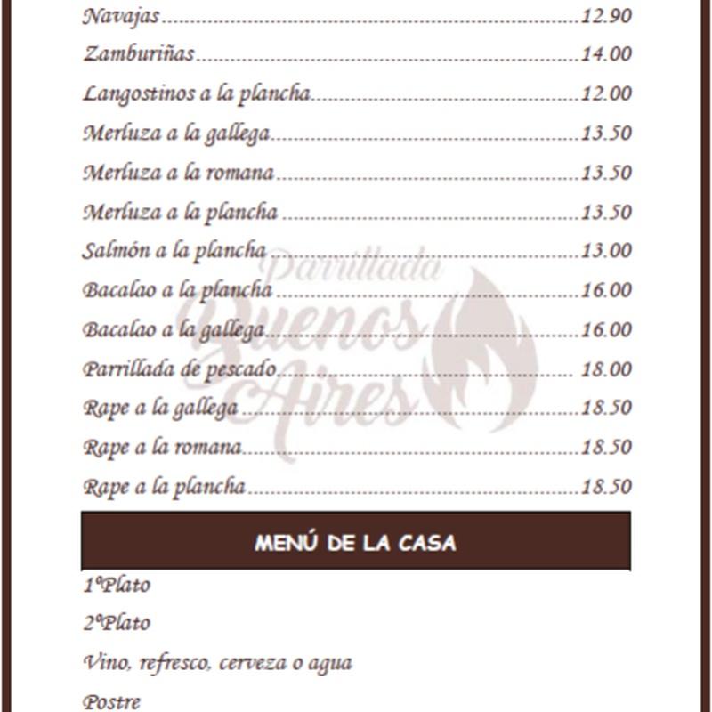 Mariscos y pescados - Parrillada Buenos Aires A Coruña