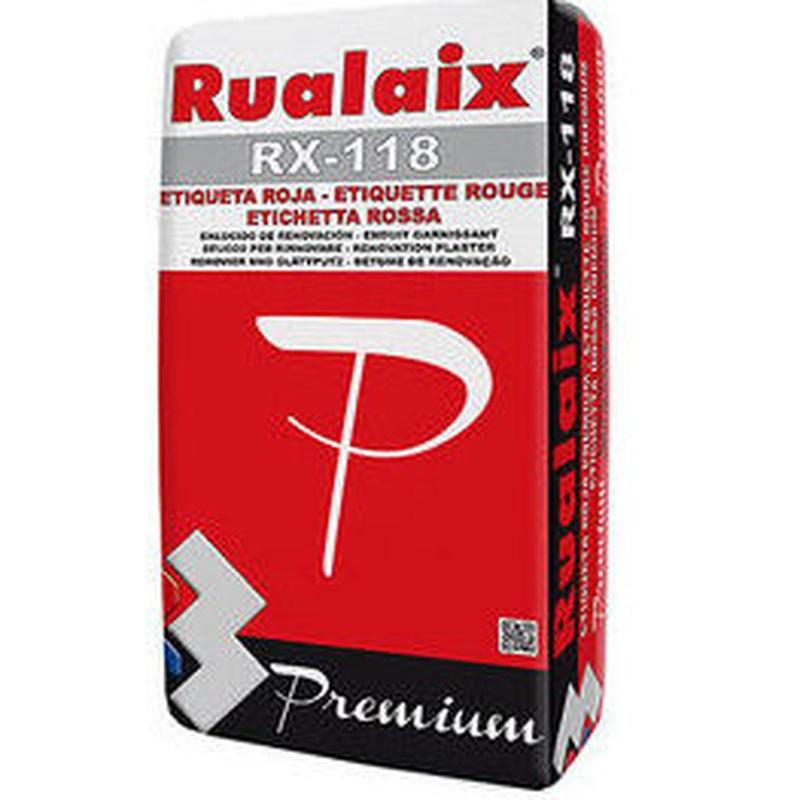 RX-118 Rualaix Etiqueta Roja Premium en almacén de pinturas en ciudad lineal.