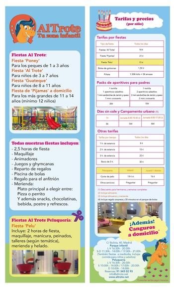 PRECIOS DE FIESTAS INFANTILES: NUESTROS SERVICIOS de AL TROTE ZONA INFANTIL, S.L.