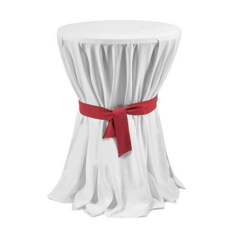 Mesa alta vestida en blanco con lazo: Alquiler de Mantelería & Menaje