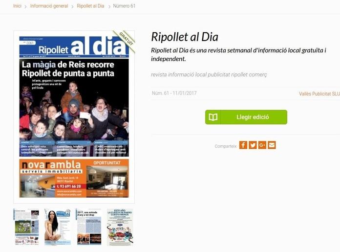 """Nuestra presencia en """"Ripollet al Día"""" es una revista semanal de información!!"""
