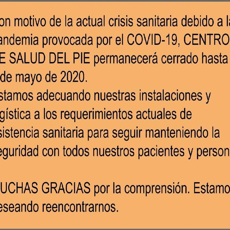 AVISO COVID-19: Servicios de Centro de Salud del Pie