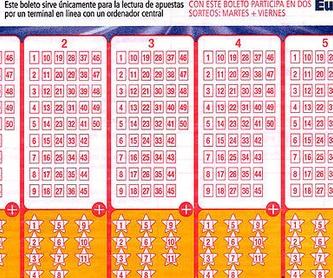 Bonoloto: PRODUCTOS Y SERVICIOS de Lotería El Madroño Admón. Nº 121