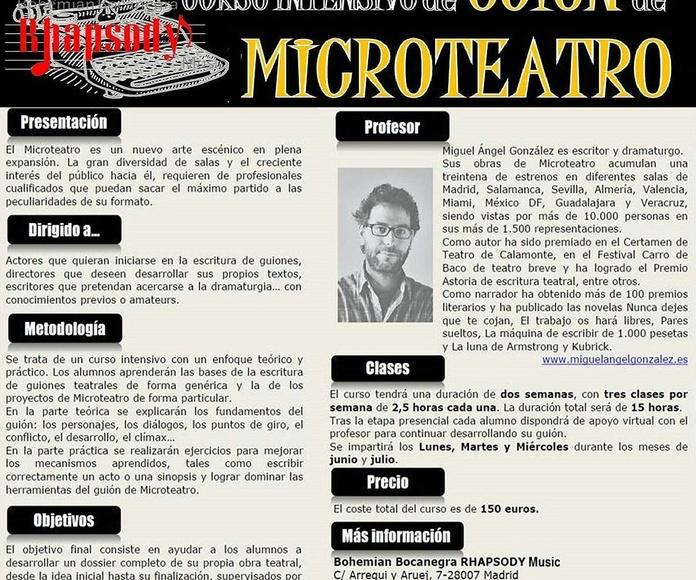 CURSO INTENSIVO DE GUIÓN DE MICROTEATRO impartido por Miguél Ángel González