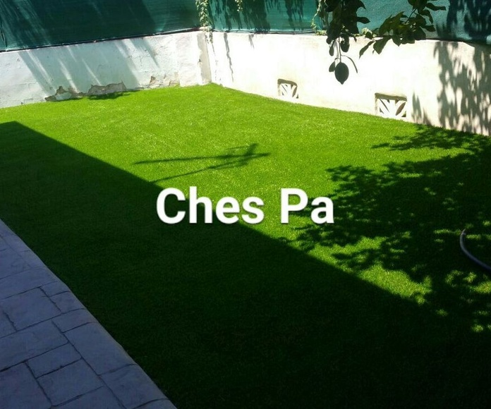 Proyecto paisajismo en jardín particular con césped artificial en Valencia.